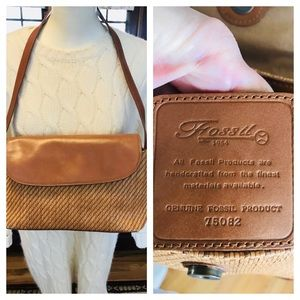 FOSSIL straw/leather purse